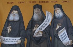 Nos Saints Pères Parintii Paisie Olaru , Ioanichie Balan si Cleopa Ilie de Roumanie.jpg